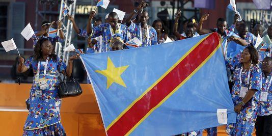 La délégation congolaise lors de la cérémonie d'ouverture des Jeux de la francophonie, à Nice, le 7 septembre. | AFP/VALERY HACHE
