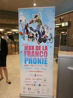 Affiche des Jeux de la Francophonie à l'Aéroport de Nice. Photo: Sinatou Saka